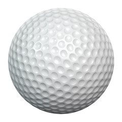 White golf ball including clipping path