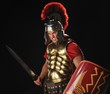 Angry legionary soldier with a gladius and shields