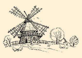 mill, trees and chicken