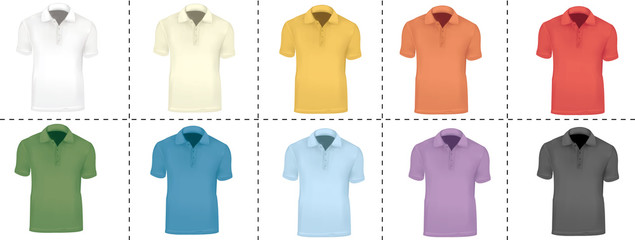 Vector illustration. Colorful collection of ten polo shirts.