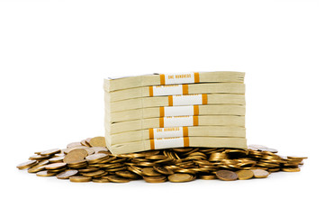 Dollars and coins isolated on the white background