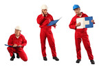 inspector in red uniform and  hardhat at work - 3 pose in 1 poster