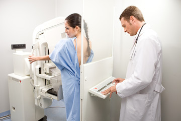 Doctor performing a mammography