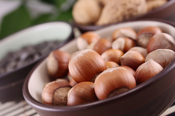 Wood nuts in bowl
