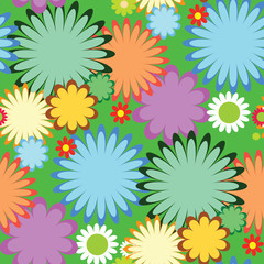 tropical flowers seamless. green