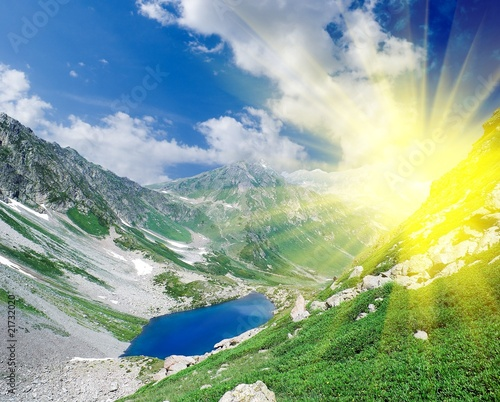 sparkle sun in a mountains