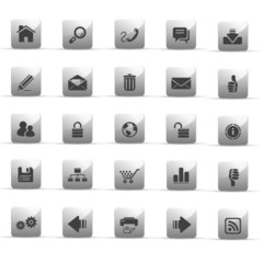 glossy grey buttons - web internet - set 1