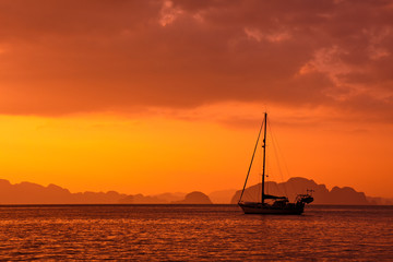 Anchored Yacht at Sunset in Thailand