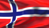 Creased Norwegian flag in wind with seams and wrinkle poster