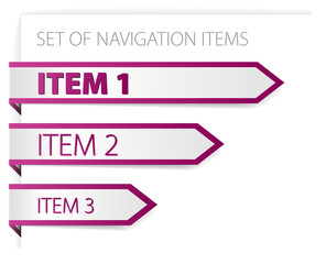 Purple paper arrows - modern navigation items