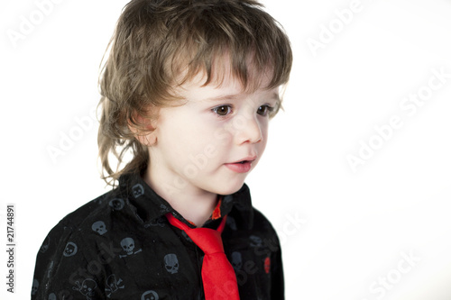 Cute child with pointing eyes away