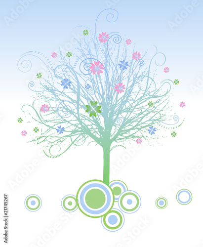 Tree and flowers vector illustration