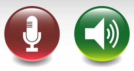 Glossy Microphone & Speaker Sign Icons