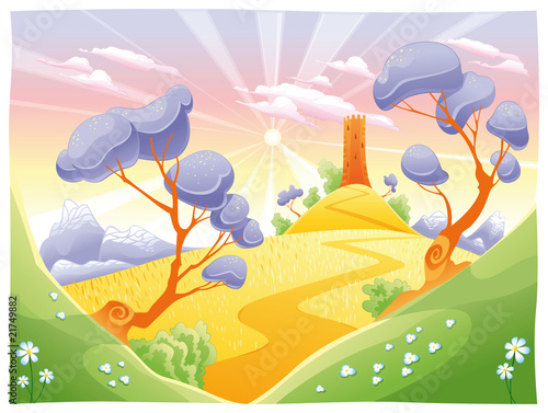 Landscape with tower. Funny cartoon and vector illustration.