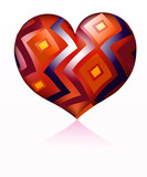 Heart with rhombus ornament poster