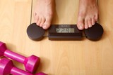 modern bathroom scale and free weights poster