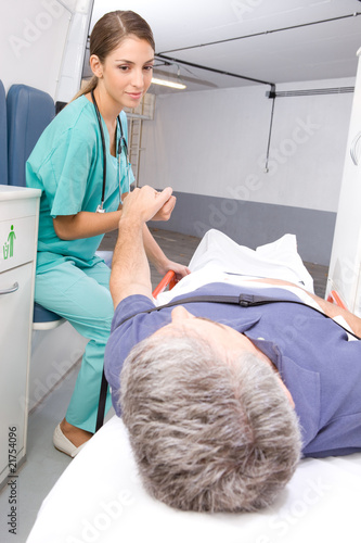 Nurse caring after a patient