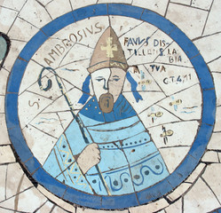 Saint Ambrose, mosaic, Church on the Mount of Beatitudes