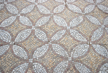 texture of the old floor mosaic