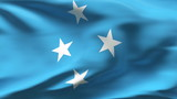 Creased Micronesia flag in wind in slow motion poster