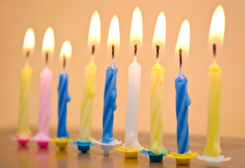 candles in bright colors