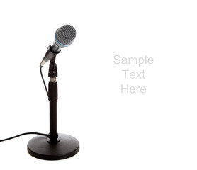 Microphone on white with copy space