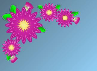 Vector Zinnia Flower Border on Blue Copy Space