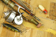 antique lures, rod and reel