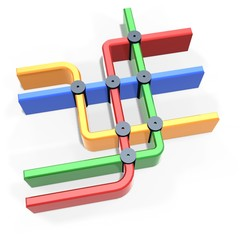 colorful metro map symbol