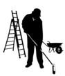 Mann fegt Arbeitsplatz