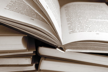 books in sepia color
