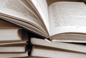 books in sepia color