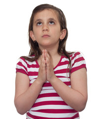 Young girl looking up and praying