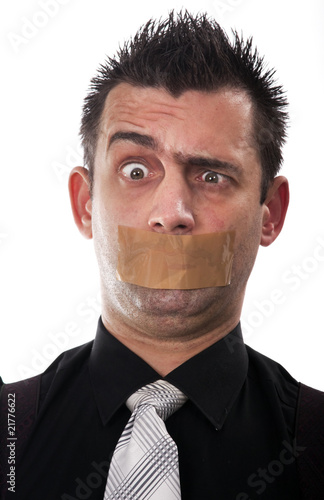 Funny businessman with tape on his mouth