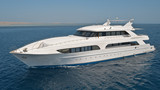 Large private motor yacht at sea poster
