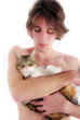 Jeune homme nu et son chat