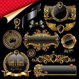 Set of royal gold and black design elements
