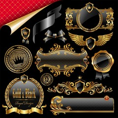 Set of royal gold and black design elements