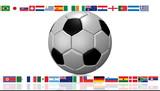 Balón de fútbol con banderas