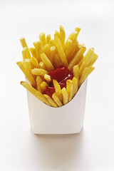French Fries in White Fast Food Box with Ketchup