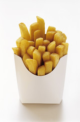 Thick Cut Fries in White Fast Food Box