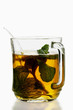 Peppermint tea in glass cup