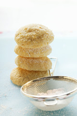 Sponge biscuits with icing sugar