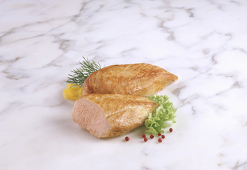 Roast chicken breast, with garnish