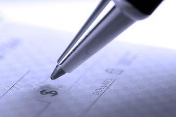 Writing Check in Checkbook