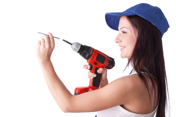 Young woman screwdriver