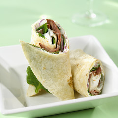 Two roast beef wraps