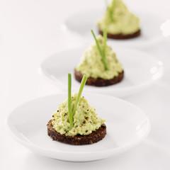 Avocado cream on pumpernickel