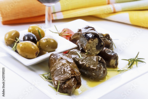 Stuffed vine leaves and olives