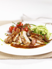 Roast chicken breast with mushrooms and bacon